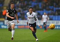 Bolton Wanderers' Zach Clough loses the ball against Tomas Kalas of Fulham<br /> <br /> Photographer Leila Coker/CameraSport<br /> <br /> The EFL Sky Bet Championship - Bolton Wanderers v Fulham - Saturday 10th February 2018 - Macron Stadium - Bolton<br /> <br /> World Copyright &copy; 2018 CameraSport. All rights reserved. 43 Linden Ave. Countesthorpe. Leicester. England. LE8 5PG - Tel: +44 (0) 116 277 4147 - admin@camerasport.com - www.camerasport.com