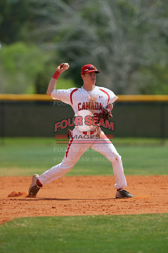Canada Junior National Team third baseman Nathaniel Ochoa (29) throws to first base during an exhibition game against the Philadelphia Phillies on March 11, 2020 at Baseball City in St. Petersburg, Florida.  (Mike Janes/Four Seam Images)