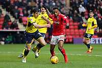 Tariqe Fosu of Charlton Athletic takes on Oxford United's John Mousinho during Charlton Athletic vs Oxford United, Sky Bet EFL League 1 Football at The Valley on 3rd February 2018