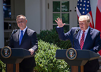 United States President Donald J. Trump, right, and President Andrzej Duda of the Republic of Poland, left, conduct a joint press conference in the Rose Garden of the White House in Washington, DC on Wednesday, June 12, 2019. <br /> Credit: Ron Sachs / CNP/AdMedia