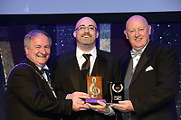 Michael Hayes, Kilkenny Musical Society, who won Best Male Singer / Gilbert Section for his performance as 'Leo Frank in Parade'' receiving the trophy from on  left, Colm Moules, President, AIMS and Seamus Power, Vice-President at the Association of Irish Musical Societies annual awards in the INEC, KIllarney at the weekend.<br /> Photo: Don MacMonagle -macmonagle.com<br /> <br /> <br /> <br /> repro free photo from AIMS<br /> Further Information:<br /> Kate Furlong AIMS PRO kate.furlong84@gmail.com