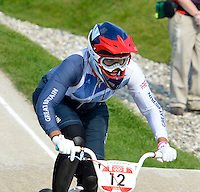 Shanaze Reade (GBR) only managed sixth  in the final..Womens BMX.BMX Track.Olympic Park.Olympics 2012.London UK. .10/08/12,.photo: Sean Ryan / IPS Photo Agency.. mobile: 07971 400 939.Address: Thatched Cottage,Wretham,Thetford, Norfolk IP24 1RH .Office tel: 01953 499 403...