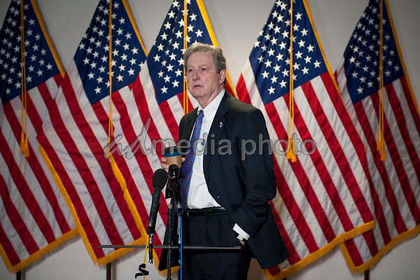 United States Senator John Neely Kennedy (Republican of Louisiana) fields questions from reporters as he arrives for the GOP luncheon in the Hart Senate Office Building on Capitol Hill in Washington, DC., Tuesday, June 16, 2020. Credit: Rod Lamkey / CNP/AdMedia