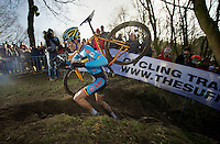 Wout Van Aert (BEL) conquering the steepest climb on the course<br />