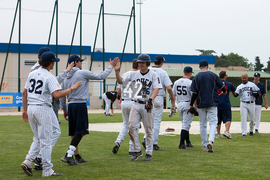 21 May 2009: Team Rouen celebrates during the 2009 challenge de France, a tournament with the best French baseball teams - all eight elite league clubs - to determine a spot in the European Cup next year, at Montpellier, France.