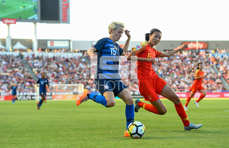 Sandy, Utah - Thursday June 07, 2018: Megan Rapinoe, Lin Yuping during an international friendly match between the women's national teams of the United States (USA) and China PR (CHN) at Rio Tinto Stadium.