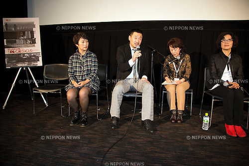 "(L to R) Screenplay Ning Dai, the Actror Wang Jingchun and the Director Ning Ying attend the Talk Show of the movie ""To Live and Die in Ordos"" at the 26th Tokyo International Film Festival 2013 in Roppongi Hills Arena, Tokyo, Japan, October 21, 2013. (Photo by Rodrigo Reyes Marin/AFLO)"
