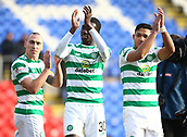 3rd February 2019, McDiarmid Park, Perth, Scotland; Ladbrokes Premiership football, St Johnston versus Celtic;  Scott Brown Timothy Weah and Emilio Izaguirre of Celtic applaud the supporters