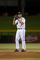 Mesa Solar Sox starting pitcher Teddy Stankiewicz (46), of the Boston Red Sox organization, gets ready to deliver a pitch during an Arizona Fall League game against the Scottsdale Scorpions at Sloan Park on October 10, 2018 in Mesa, Arizona. Scottsdale defeated Mesa 10-3. (Zachary Lucy/Four Seam Images)
