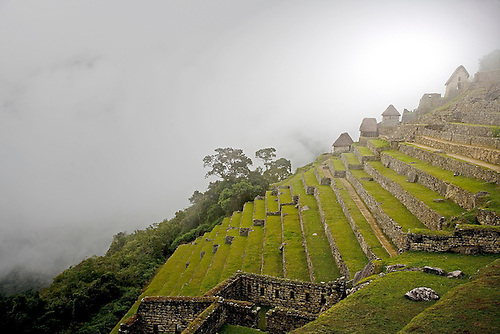 THE FIRST MORNING LIGHT ILLUMINATES THE AGRICULTUAL TERRACES AT THE INCA RUINS OF MACHU PICCHU,PERU