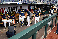 Michigan Wolverines dugout Game 6 of the NCAA College World Series against the Florida State Seminoles on June 17, 2019 at TD Ameritrade Park in Omaha, Nebraska. Michigan defeated Florida State 2-0. (Andrew Woolley/Four Seam Images)