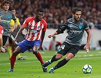Malaga's midfielder Recio; Atletico Madrid's Ghanaian midfielder Thomas Partey