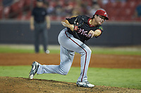 North Division pitcher Jordan Mills (30) of the Potomac Nationals follows through on his delivery during the 2018 Carolina League All-Star Classic at Five County Stadium on June 19, 2018 in Zebulon, North Carolina. The South All-Stars defeated the North All-Stars 7-6.  (Brian Westerholt/Four Seam Images)