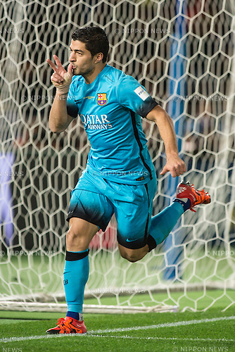 Luis Suarez (Barcelona), DECEMBER 17, 2015 - Football / Soccer : Luis Suarez of Barcelona celebrates scoring the opening goal during the FIFA Club World Cup Japan 2015 semi-final match between FC Barcelona 3-0 Guangzhou Evergrande at Yokohama International Stadium, Kanagawa, Japan. (Photo by Enrico Calderoni/AFLO)