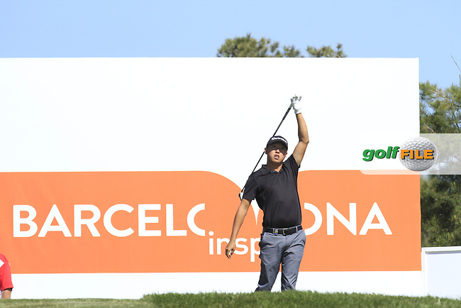 David Lipsky (USA) on the 5th tee during Round 2 of the Open de Espana  in Club de Golf el Prat, Barcelona on Friday 15th May 2015.<br /> Picture:  Thos Caffrey / www.golffile.ie