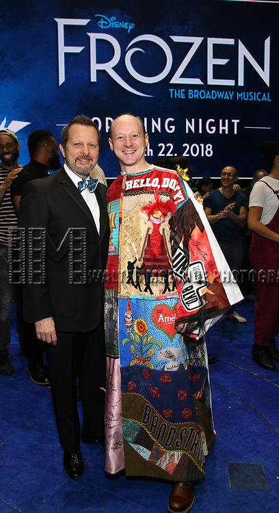 Rob Ashford with Jeremy Davis  during the Actors' Equity Opening Night Gypsy Robe Ceremony honoring Jeremy Davis for 'Frozen' at the St. James Theatre on March 22, 2018 in New York City.
