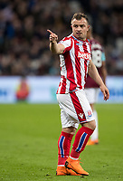 Xherdan Shaqiri of Stoke City during the Premier League match between West Ham United and Stoke City at the Olympic Park, London, England on 16 April 2018. Photo by Andy Rowland.