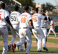 Mesa Solar Sox shortstop Junior Lake #6 is congratulated for hitting a walk off single scoring Brian Dozier (not pictured) during an Arizona Fall League game against the Phoenix Desert Dogs at HoHoKam Park on November 3, 2011 in Mesa, Arizona.  Also pictured is Nevin Griffith #50, Steve Johnson #48, and Joe Mahoney #76 Mesa defeated Phoenix 8-7.  (Mike Janes/Four Seam Images)