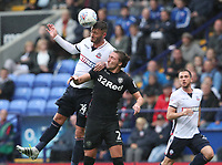 Bolton Wanderers' Gary Madine and Leeds United's Luke Ayling<br /> <br /> Photographer Rachel Holborn/CameraSport<br /> <br /> The EFL Sky Bet Championship - Bolton Wanderers v Leeds United - Sunday 6th August 2017 - Macron Stadium - Bolton<br /> <br /> World Copyright &copy; 2017 CameraSport. All rights reserved. 43 Linden Ave. Countesthorpe. Leicester. England. LE8 5PG - Tel: +44 (0) 116 277 4147 - admin@camerasport.com - www.camerasport.com