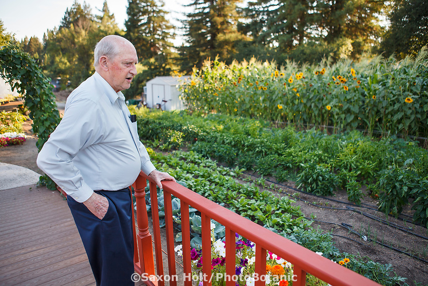 Elderly resident reviewing vegetable garden, Healdsburg Senior Living Center