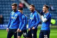 Preston North End's Paul Gallagher, Louis Moult and  Brandon Barker share a joke<br /> <br /> Photographer Richard Martin-Roberts/CameraSport<br /> <br /> The EFL Sky Bet Championship - Preston North End v Wigan Athletic - Saturday 6th October 2018 - Deepdale Stadium - Preston<br /> <br /> World Copyright &not;&copy; 2018 CameraSport. All rights reserved. 43 Linden Ave. Countesthorpe. Leicester. England. LE8 5PG - Tel: +44 (0) 116 277 4147 - admin@camerasport.com - www.camerasport.com