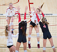 STANFORD, CA - November 4, 2018: Holly Campbell, Meghan McClure, Jenna Gray at Maples Pavilion. No. 2 Stanford Cardinal defeated the Utah Utes 3-0.