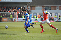 Blackpool's Matty Virtue under pressure from Fleetwood Town's Paul Coutts<br /> <br /> Photographer Kevin Barnes/CameraSport<br /> <br /> The EFL Sky Bet League One - Fleetwood Town v Blackpool - Saturday 7th March 2020 - Highbury Stadium - Fleetwood<br /> <br /> World Copyright © 2020 CameraSport. All rights reserved. 43 Linden Ave. Countesthorpe. Leicester. England. LE8 5PG - Tel: +44 (0) 116 277 4147 - admin@camerasport.com - www.camerasport.com