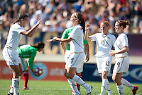Lauren Cheney celebrates with Shannon Boxx, left, after scoring a goal. .USA 3-0 over Mexico in San Diego, California, Sunday, March 28, 2010.