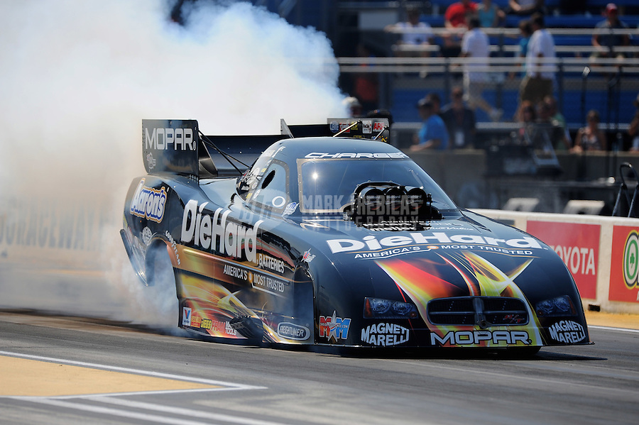 Jul. 1, 2012; Joliet, IL, USA: NHRA funny car driver Matt Hagan during the Route 66 Nationals at Route 66 Raceway. Mandatory Credit: Mark J. Rebilas-