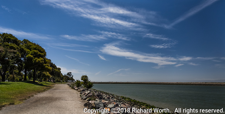 Like the strokes of an artist's brush, high clouds streak the sky over a wide path with green trees to the left and a rocky shoreline and water to the right at the San Leandro Marina Park along San Francisco Bay.
