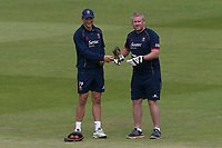 Michael Pepper (L) and Essex head coach Anthony McGrath during Lancashire CCC vs Essex CCC, Specsavers County Championship Division 1 Cricket at Emirates Old Trafford on 9th June 2018