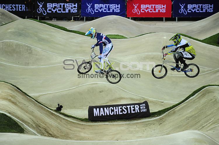 PICTURE BY ALEX BROADWAY/SWPIX.COM - Cycling - 2013 UCI BMX Supercross World Cup - National BMX Centre, Manchester, England - 20/04/13 - Elite Men Motos.