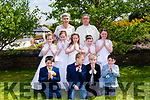 Pupils from Glenbeigh National School who received their first Holy Communion on Saturday from Fr. Kieran O'Sullivan  in St. Jamesí Church,  Glenbeigh.  pictured here with their teacher, Mary Jo Curran.