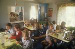 Village junior school lunch time break. Lunch Hour. Sapperton Gloucestershire 1980s