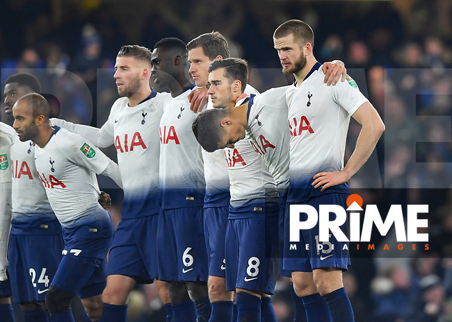 Eric Dier of Tottenham Hotspur (R) and his team mates during the Carabao Cup Semi-Final 2nd leg match between Chelsea and Tottenham Hotspur at Stamford Bridge, London, England on 24 January 2019. Photo by Vince  Mignott / PRiME Media Images.