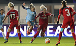 Toni Duggan of Manchester City Women and Stine Larsen of Brondby IF during the Women's Champions League last 16 tie, first leg between Manchester City Women and Brondby IF at the Academy Stadium. <br /> <br /> Photo credit should read: Lynne Cameron/Sportimage