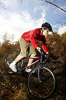 Sam Behr riding Islabikes Benin bike..Wentworth , Surrey     October 2007..pic copyright Steve Behr / Stockfile