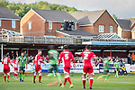 © Joel Goodman - 07973 332324 . 18/05/2016 . Accrington , UK . Four lads watch the match from a roof overlooking the pitch  . Accrington Stanley take on AFC Wimbledon at the Wham Stadium , in the 2nd leg of their League Two tie , the result from which will decide which team goes on to the final at Wembley . Photo credit : Joel Goodman