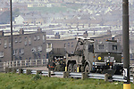 Derry Londonderry Northern Ireland The Troubles. 1980s.  British Army under fire.   1981