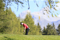 Richard McEvoy (ENG) putts on the 10th green during Sunday's Final Round 4 of the 2018 Omega European Masters, held at the Golf Club Crans-Sur-Sierre, Crans Montana, Switzerland. 9th September 2018.<br /> Picture: Eoin Clarke | Golffile<br /> <br /> <br /> All photos usage must carry mandatory copyright credit (© Golffile | Eoin Clarke)
