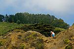 Man climbing on coastal cliffs at Pfeiffer Beach, Big Sur Coast, Monterey County, California