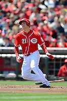 Cincinnati Reds third baseman Todd Frazier #21 during a game against the Miami Marlins at Great American Ball Park on April 20, 2013 in Cincinnati, Ohio.  Cincinnati defeated Miami 3-2 in 13 innings.  (Mike Janes/Four Seam Images)