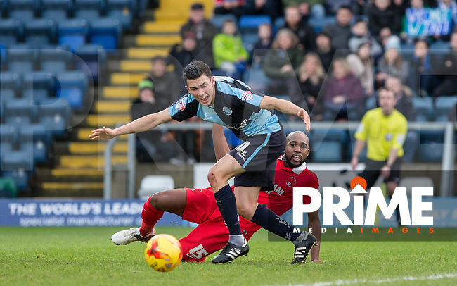 Appeals for a Penalty as Luke O'Nien of Wycombe Wanderers & Nigel Atangana of Leyton Orient clash during the Sky Bet League 2 match between Wycombe Wanderers and Leyton Orient at Adams Park, High Wycombe, England on 23 January 2016. Photo by Andy Rowland / PRiME Media Images.