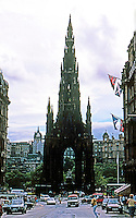 "Edinburgh: The Scott Monument, 1846. Built in honor of Sir Walter Scott. 206' 6"" high. Nicknamed ""Auld Reekie"" for its sooty black color. Victorian Gothic design. Photo '87."