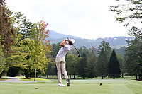 SAPPHIRE, NC - OCTOBER 01: Magnus Pedersen of Western Carolina University tees off at The Country Club of Sapphire Valley on October 01, 2019 in Sapphire, North Carolina.