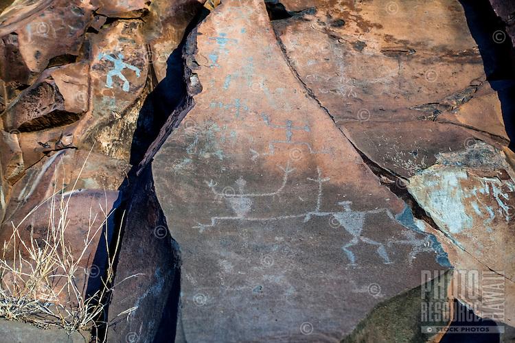 Authentic Hawaiian petroglyphs of human figures, Olowalu, Maui