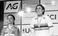 An emotional Sanne Cant (BEL) is crowned the 2017 UCI Women's Cyclocross World Champion on the podium<br /> <br /> january 2017, Bieles/Luxemburg
