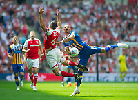 Shrewsbury Carlton Morris and Rotherham Richard Wood during the Sky Bet League 1 Play Off FINAL match between Rotherham United and Shrewsbury Town at Wembley, London, England on 27 May 2018. Photo by Andrew Aleksiejczuk / PRiME Media Images.