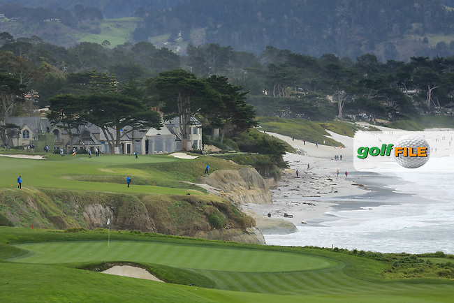A  gerneral view of the 9th green during the first round of the AT&T Pro-Am, Pebble Beach Golf Links, Monterey, California, USA. 07/02/2019<br /> Picture: Golffile | Phil Inglis<br /> <br /> <br /> All photo usage must carry mandatory copyright credit (© Golffile | Phil Inglis)