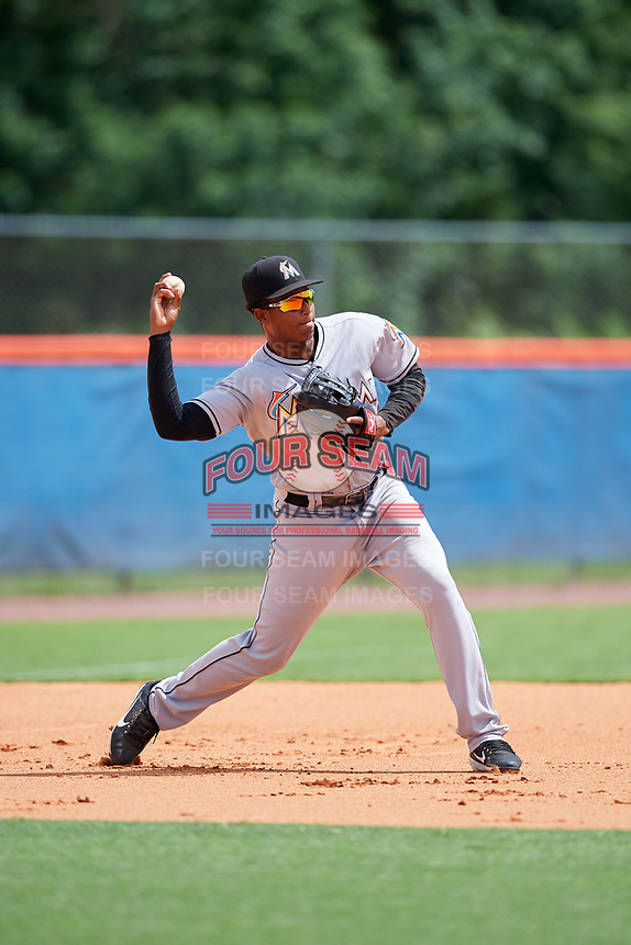 GCL Marlins first baseman Christopher Rodriguez (7) warms up before a game against the GCL Mets on August 3, 2018 at St. Lucie Sports Complex in Port St. Lucie, Florida.  GCL Mets defeated GCL Marlins 3-2.  (Mike Janes/Four Seam Images)